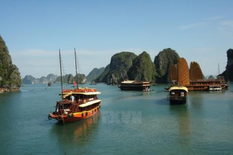 A ship travels in Ha Long Bay. Photo: VNA
