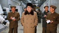 North Korean leader Kim Jong Un (C) gives field guidance during a visit to the Tonghungsan Machine Plant under the Ryongsong Machine Complex in this undated photo released by North Korea's Korean Central News Agency (KCNA) on April 2, 2016.