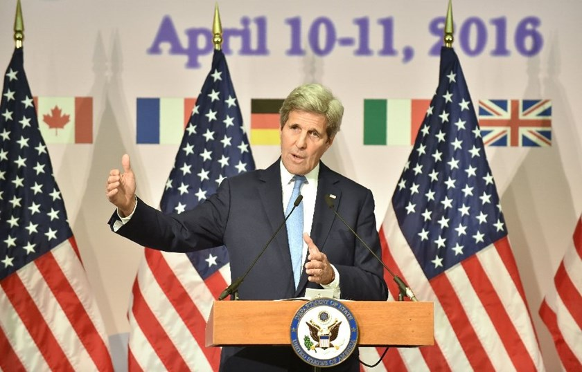 US Secretary of State John Kerry answers questions following the G7 foreign ministers' meeting in Hiroshima, on April 11, 2016