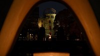 The atomic bomb dome is seen through the altar for victims of the 1945 atomic bombing, at the Peace Memorial Park in Hiroshima, Japan, on April 10, 2016