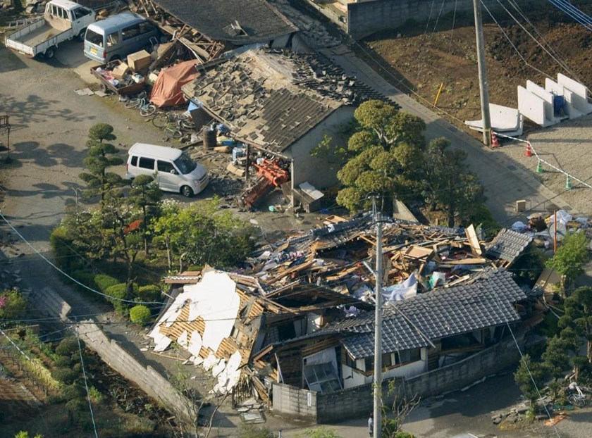 Collapsed houses caused by an earthquake are seen in Mashiki town, Kumamoto prefecture, southern Japan, in this photo taken by Kyodo April 15, 2016.