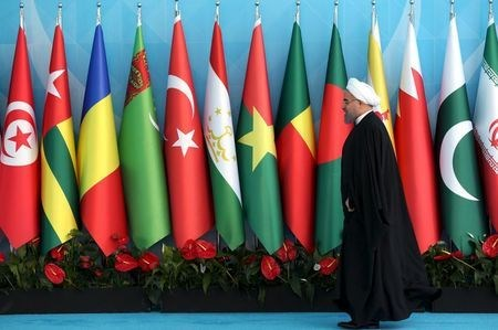 Iranian President Hassan Rouhani arrives the OIC Istanbul Summit