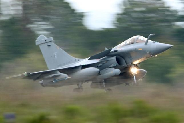 A French Air Force Rafale fighter jet takes off