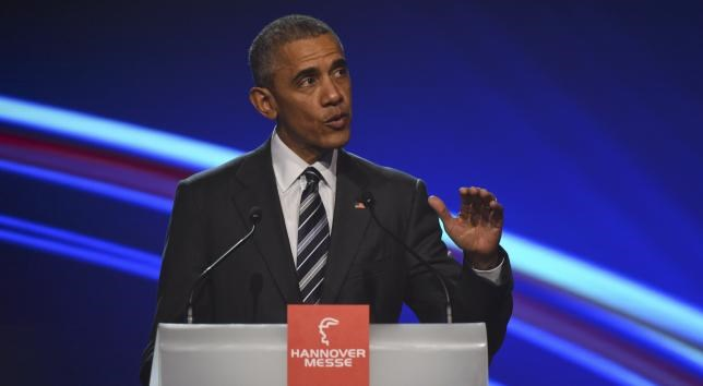U.S. President Barack Obama gestures as he makes a speach during the opening ceremony of the Hannover Messe in Hanover, Germany April 24, 2016