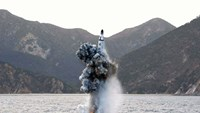 Underwater test-fire of a strategic submarine ballistic missile at an undisclosed location in North Korea, on April 23, 2016
