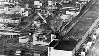 An aerial view of the Chernobyl Nuclear Power Plant in Ukraine with an arrow pointing to the location of the explosion. On the morning of April 26, 1986, no one could yet tell that a meltdown in reactor 4 of the nuclear plant in then-Soviet Ukraine was poisoning the air with so much deadly radioactivity that it would become the world's worst nuclear accident.