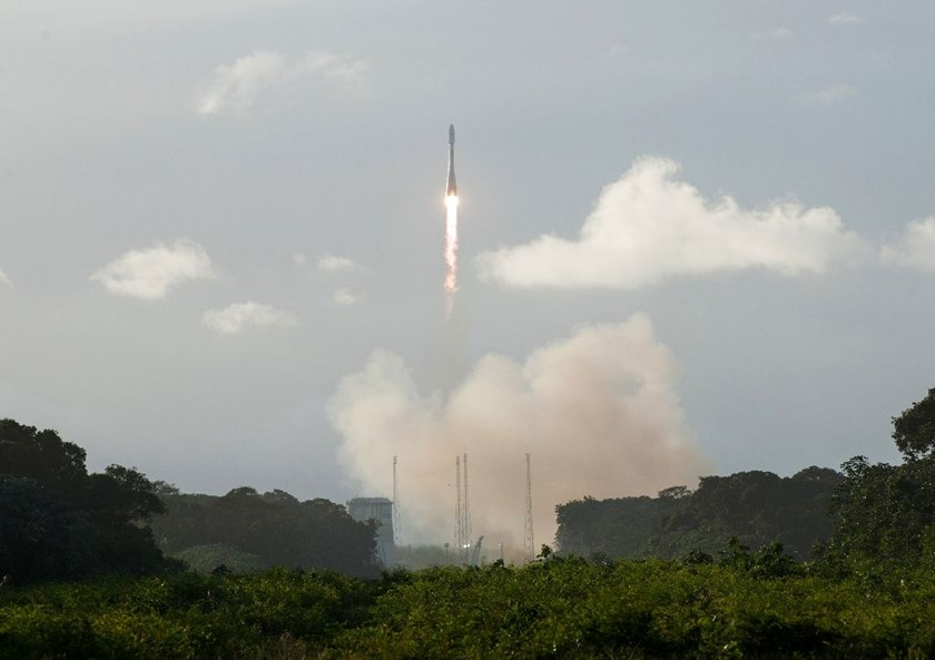 A Soyuz VS14 rocket lifts off from the European space centre at Kourou, French Guiana