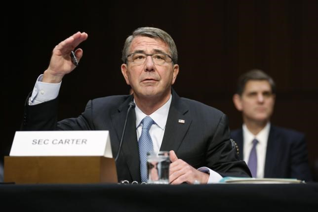 U.S. Secretary of Defense Ash Carter testifies on operations against the Islamic State, on Capitol Hill in Washington, U.S., April 28, 2016.