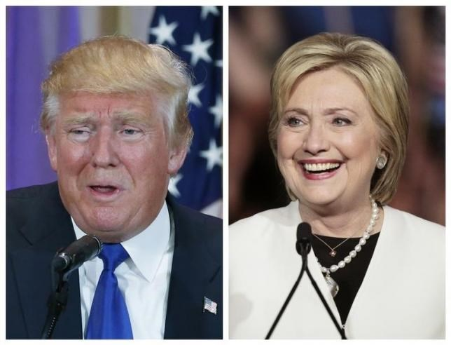 A combination photo shows Republican U.S. presidential candidate Donald Trump (L) in Palm Beach, Florida and Democratic U.S. presidential candidate Hillary Clinton (R) in Miami, Florida at their respective Super Tuesday primaries campaign events on March 1, 2016.