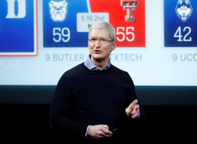 Apple CEO Tim Cook speaks about the Apple TV during an event at Apple headquarters in Cupertino, California March 21, 2016.