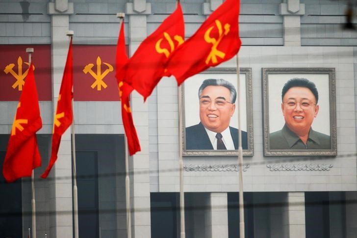 Pictures of former North Korean leaders Kim Il Sung and Kim Jong Il decorate the April 25 House of Culture, the venue of Workers' Party of Korea (WPK) congress in Pyongyang, North Korea May 6, 2016.