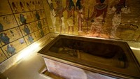 The golden sarcophagus of King Tutankhamun displayed in his burial chamber in the Valley of the Kings, close to Luxor