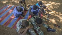 Former ex-Seleka child soldiers wait to be released in Bambari, Central African Republic, May 14, 2015.