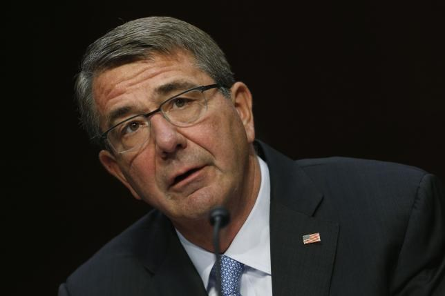 U.S. Secretary of Defense Ash Carter testifies on Capitol Hill in Washington, U.S., April 28, 2016.