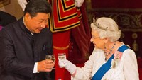 Britain's Queen Elizabeth II hosts a State Banquet for Chinese President Xi Jinping, at Buckingham Palace in London, on October 20, 2015