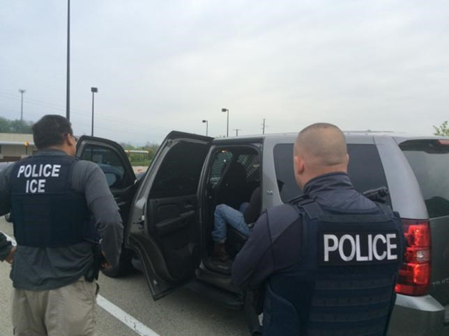 Officers from U.S. Immigration and Customs Enforcement's (ICE) Enforcement and Removal Operations (ERO) are shown during an operation targeting criminal aliens and other immigration violators in Philadelphia, Pennsylvania, United States in this image released May 11, 2016.