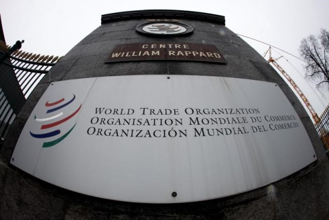 The World Trade Organization WTO logo is seen at the entrance of the WTO headquarters in Geneva in this April 9, 2013 file photo.