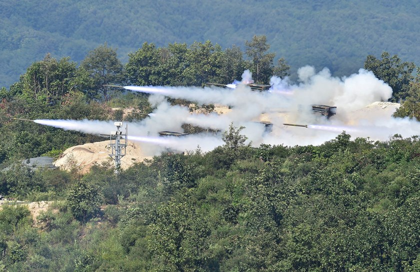 South Korean Army launch rockets during a joint live firing drill with the US at the Seungjin Fire Training Field in Pocheon in August of last year. The U.S., Japan and South Korea will participate in drills in waters near Hawaii in late June. Photographer: Jung Yeon Je/AFP via Getty Images
