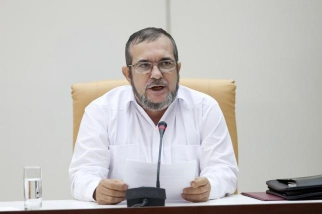 FARC rebel leader Rodrigo Londono, better known by the nom de guerre Timochenko, speaks during a news conference in Havana, September 23, 2015.