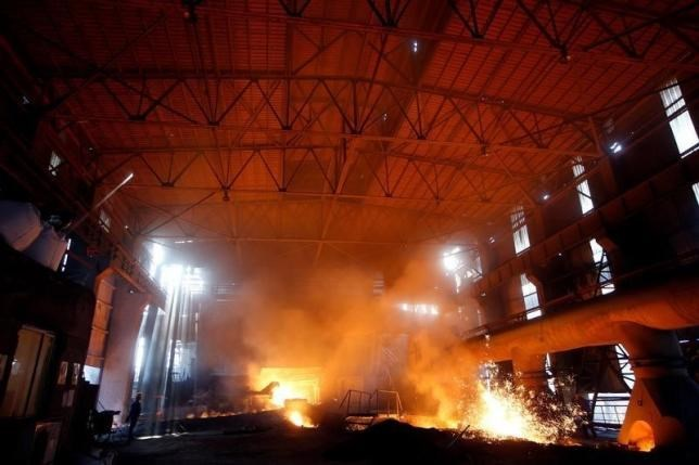 A view inside a steel production facility at Shanxi Zhongsheng Steel in Fenyang, Shanxi Province, China, April 28, 2016.