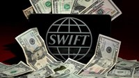 The SWIFT logo is pictured in this photo illustration taken April 26, 2016.