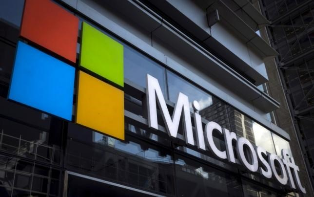 A Microsoft logo is seen on an office building in New York City in this July 28, 2015 file photo.