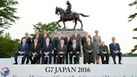 Participants of the G7 finance ministers and central bankers meeting pose for a family picture, ahead of the kickoff of the meeting at Aoba Castle in Sendai, Miyagi prefecture, Japan, in this photo taken by Kyodo May 19, 2016. Mandatory credit Kyodo/via REUTERS