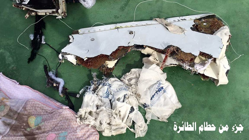 The Egyptian military released a series of photos showing aircraft debris. Photo: Egyptian Armed Forces