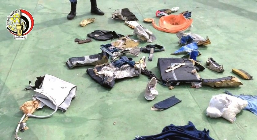 Picture on the official Facebook page of the Egyptian military spokesperson shows part of debris found by search teams looking for the EgyptAir flight which plunged into the Mediterranean