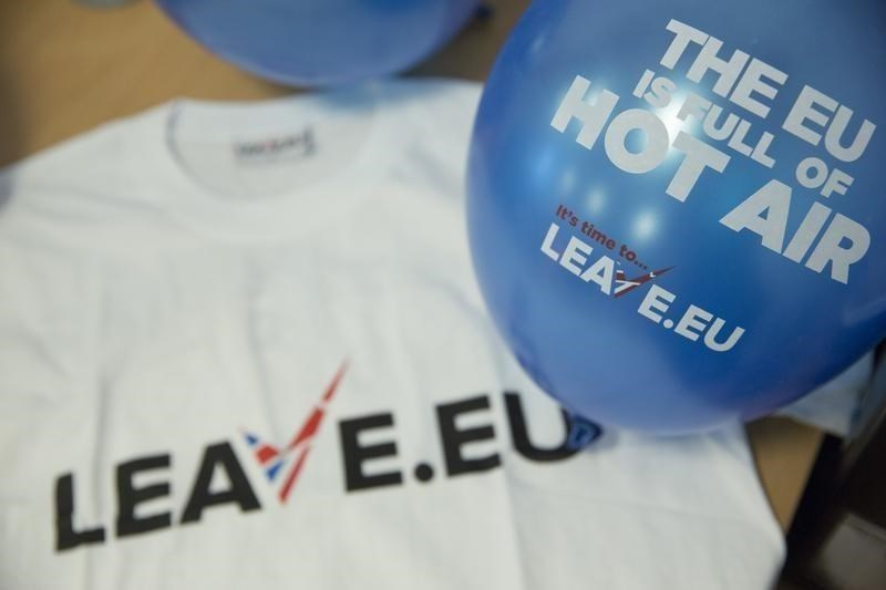 Branded merchandise is seen in the office of pro-Brexit group pressure group 'Leave.eu' in London, Britain February 12, 2016.