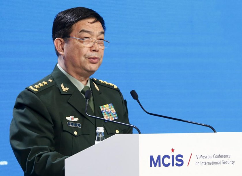 Chinese Defence Minister Chang Wanquan delivers a speech as he attends the 5th Moscow Conference on International Security (MCIS) in Moscow, Russia, April 27, 2016.