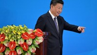 Chinese President Xi Jinping goes down the stage after a speach on the opening ceremony of CICA, at Diaoyutai State Guesthouse in Beijing on 28 April, 2016.