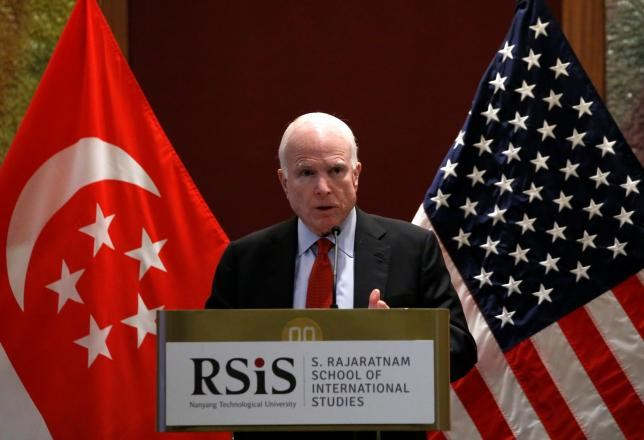 U.S. senator John McCain gives a public lecture on the sidelines of the IISS Shangri-La Dialogue in Singapore June 3, 2016.