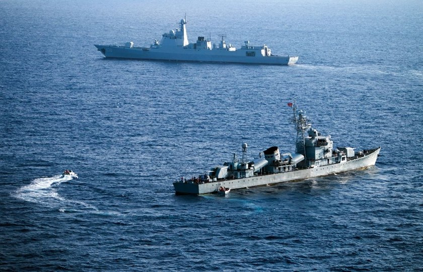Crew members of China's South Sea Fleet taking part in a drill in the Hoang Sa Islands, or the Paracel Islands, which is claimed by Vietnam, on May 5, 2016