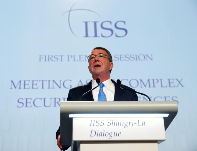 U.S. Secretary of Defense Ash Carter speaks at the IISS Shangri-La Dialogue in Singapore June 4, 2016.