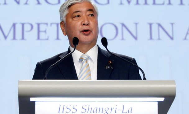Japan's Minister of Defence Gen Nakatani speaks at the IISS Shangri-La Dialogue in Singapore June 4, 2016.