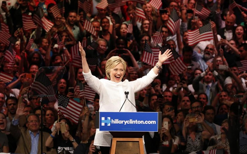 Hillary Clinton speaks during her California primary night rally held in Brooklyn.