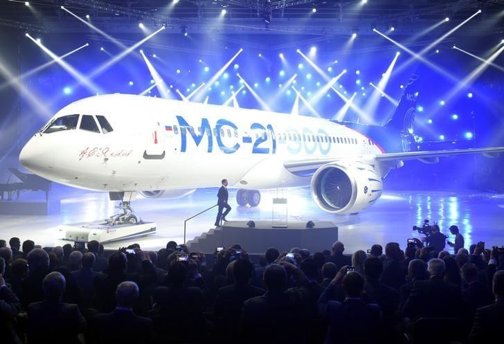 Russian Prime Minister Dmitry Medvedev attends a ceremony to present the Irkut MC-21 mid-range jet airliner at the Irkutsk Aviation Plant (Irkut Corporation) in Irkutsk, June 8, 2016.