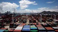 Containers are piled up at Kwai Chung Container Terminals in Hong Kong July 6, 2012.