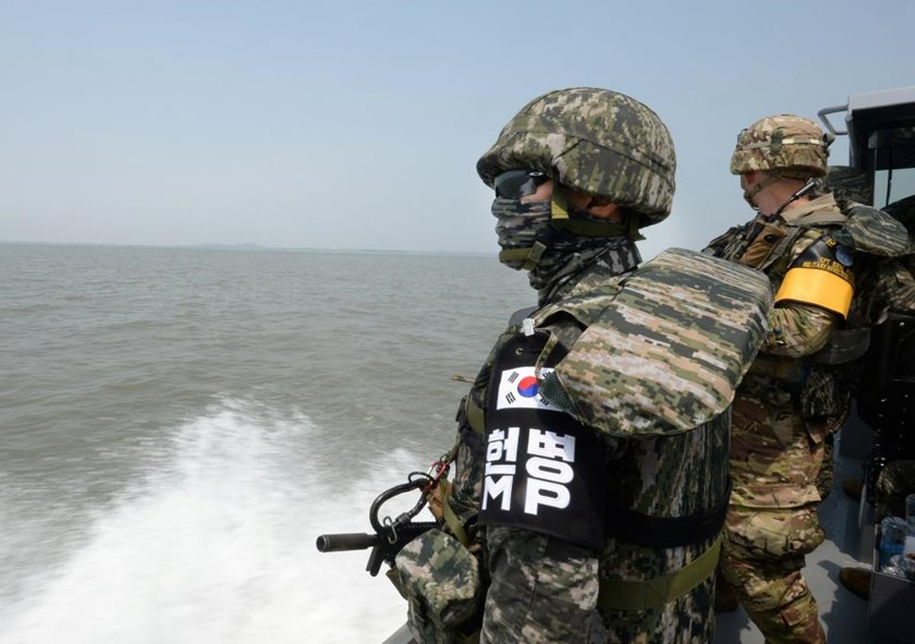 Members of South Korea army, maritime policemen and the United Nations Command take part in a joint operation to keep Chinese fishing vessels from operating illegally off the west coast, South Korea