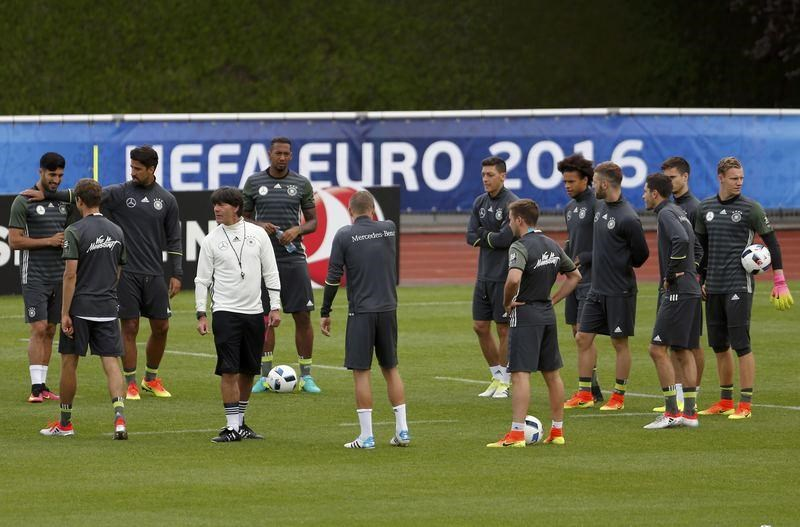 Germany's coach Joachim Loew and players during training.