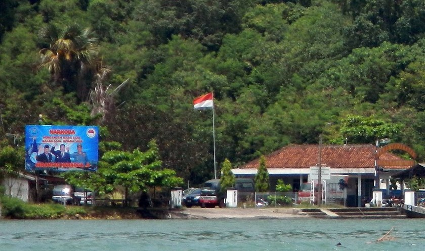 A giant banner reads 'Narcotics threaten everyone, eradicate narcotics,' as seen on Indonesia's Nusakambangan prison island, where executions are usually carried out