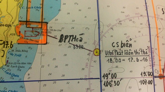 The yellow circle indicates the spot where the body of pilot Tran Quang Khai was found