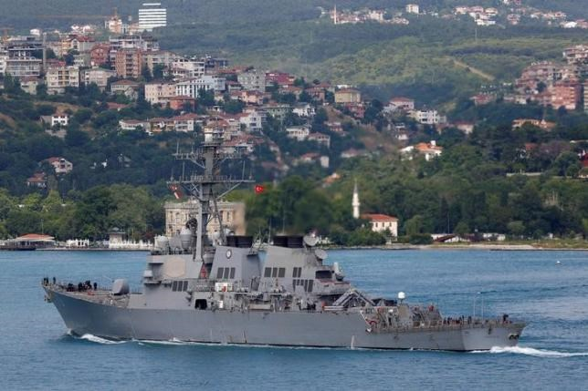U.S. Navy guided-missile destroyer USS Porter sets sail in the Bosphorus, on its way to the Black Sea in Istanbul, Turkey, June 6, 2016.