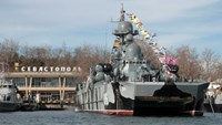 A view of a Russian warship during celebrations of the Defender of the Fatherland Day in Sevastopol
