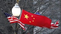 China's national flag is flanked by the U.S. flag along Pennsylvania Avenue near the U.S. Capitol in Washington, January 18, 2011.