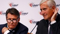 IAAF President Sebastian Coe (L) and Rune Andersen, head of the IAAF taskforce on Russia, listens to a journalist question during a news conference after the International Association of Athletics Federations (IAAF) council meeting in Vienna, Austria, June 17, 2016.