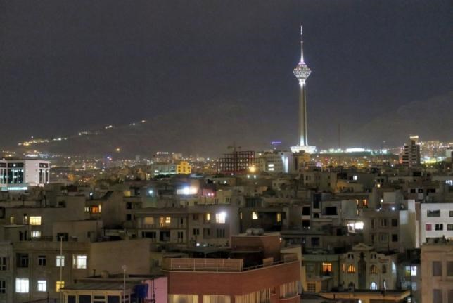 A view shows Tehran's skyline at night with the Milad tower, the sixth tallest tower in the world, Iran May 3, 2016.