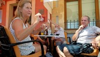 British residents discuss in a restaurant after Britain voted to leave the European Union in the EU Brexit referendum in Javea near Alicante, Spain, June 24, 2016.