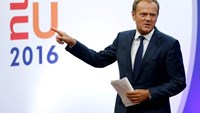 European Council President Donald Tusk gestures as he briefs the media after Britain voted to leave the bloc, in Brussels, Belgium
